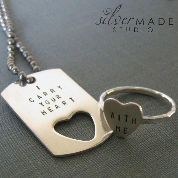 """""""I carry your heart"""" dog tag and ring set for a long distance couple"""