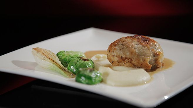 Stuffed Chicken Breast with Brussels Sprouts and Parsnip Purée