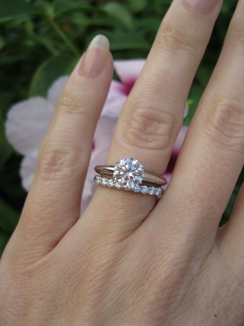if anyone ask about a ring for my engagement this is exactly what I want: the tiffany setting engagement ring and shared-setting band ring in platinum with diamonds