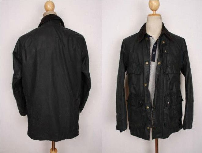 BARBOUR Beaufort WAXED Jacket Navy Size 44
