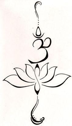"""Um loto para representar um novo começo, ou passando por uma luta e emergentes dessa luta e tornando-se um símbolo de força. O símbolo """"Om"""" do mantra budista em repouso por amor, bondade e proteção ... este simbolismo também é dito para purificar o ódio e a raiva."""