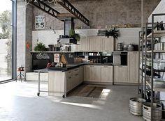 Cuisine industrielle étagères métalliques