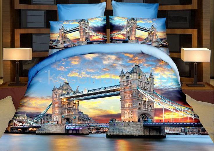 Pościele z mikrowłókna niebieskie na łóżko z wielkim mostem nad wodą