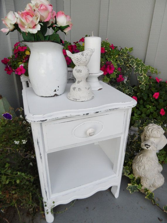 adorable vintage shabby chic painted night stand end table cottage charming furniture