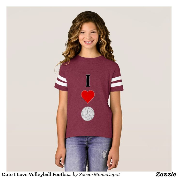 Cute I Love Volleyball Football-style Girls Jersey T-Shirt #volleyball #love #jersey