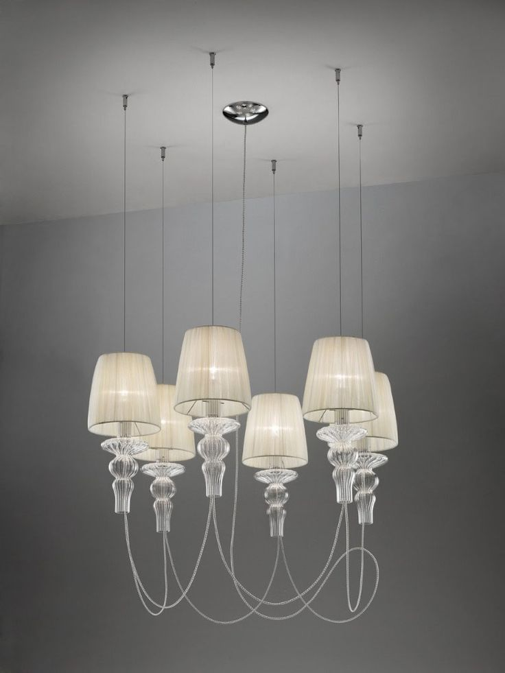 Gadora SO6 Suspension by Evi Style - Medialight | ES0601SO04AVAL $4246. 17hx35w. 6-42 watt candelabra incandescent bulbs.  silk shades w optical blown glass detail and chrome body