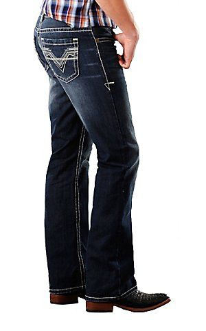 Rock & Roll Cowboy® Dark Stonewash Double Barrel Running Stitch V Relaxed Fit Boot Cut Jeans | Cavender's Boot City