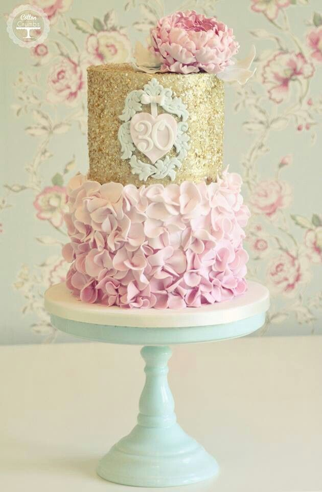 30th Birthday Cake With Pink Ruffles And Gold Sparkles