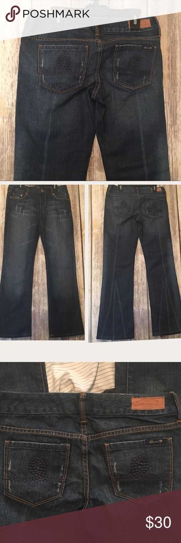 🔴⚪️🔵SALE🔴⚪️🔵Seven 7 Dark Tint Blue Jeans Dark blue tint seven jeans. Boot cut style. In excellent used condition. Size 25. Appealing pocket Design. 28 inch inseam Seven7 Jeans Boot Cut
