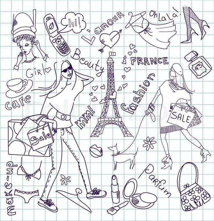 Stock vector of 'Feminine doodles, Shopping in Paris'