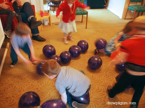 violet's blueberry bubble bonanza - put mini candies in the balloons then inflate. The kids have to sit on them so they pop and get the candy