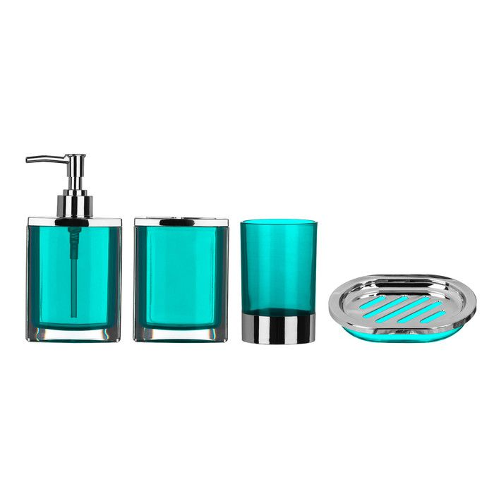turquoise bathroom accessories sets. All Home Cristallo 4 Piece Bathroom Accessory Set  Reviews Wayfair UK 31 best ORange bathroom images on Pinterest Orange bathrooms