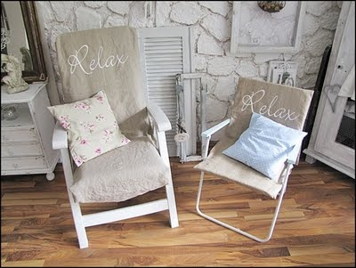 Slipcovers for camp chairs!!!  :D     nora pearlMotorhome, Camps Ideas, Nora Pearls, Christmas Camps, Pearls Glamping, Decks Chairs, Lawns Chairs, Camps Chairs Slipcovers, Burlap Looks Slipcovers