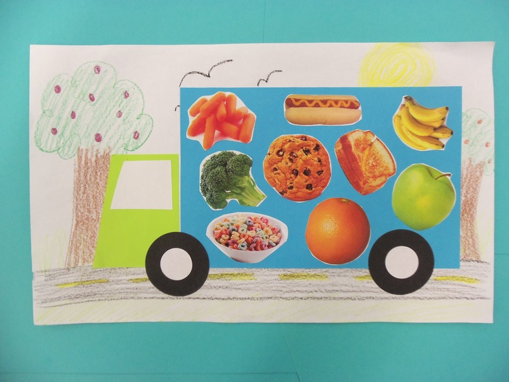 Storytime w/ Miss Carey Craft: Favorite Foods Truck made with construction paper and pics of food cut from magazines!
