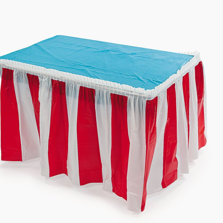 "Red & White Striped Table Skirt. This eye-catching table decoration is perfect for a number of festivities and celebrations! Plastic. 14 ft. x 29"" © OTC"