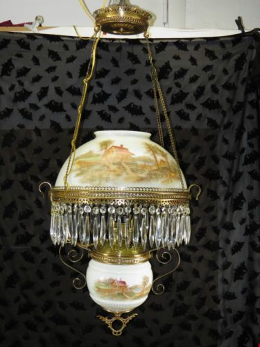 Vict B H Bradley Hubbard Oil Lamp Ceiling Light Brass