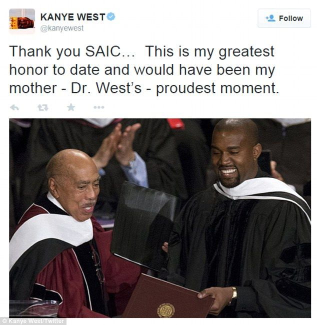 'This is my greatest honor to date!' Kanye hoped he made his late mother Dr. Donda West proud, since she used to be the Chair of the English Department at Chicago State University