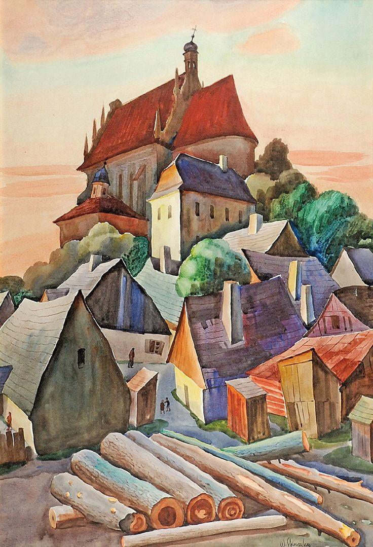 Władysław SKOCZYLAS (1883-1934)  Motyw z Kazimierza akwarela, gwasz, ołówek, papier, 95 x 65 cm (w świetle oprawy); sygn. p. d.: W. Skoczylas