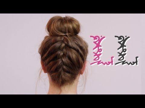 Upside down braid with a messy bun... Doing it yourself. Easy!♥Cute!★Quick!♥