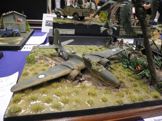 Royal Australian Air Force (RAAF) A-20 Havoc crashlanding somewhere in the Pacific Theater of Operations. Great diorama, probably in 1/48th scale.