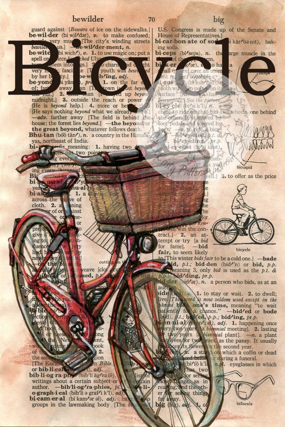 6 x 9 Print of Original, Mixed Media Drawing on Distressed, Dictionary Page    This drawing of a red bicycle is drawn in sepia ink and created with
