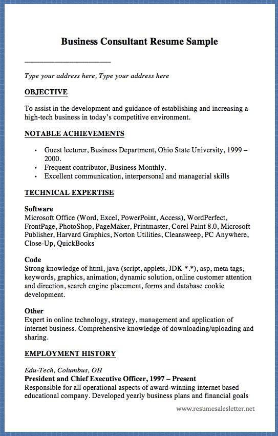 Business Consultant Resume Sample Type your address here, Type your