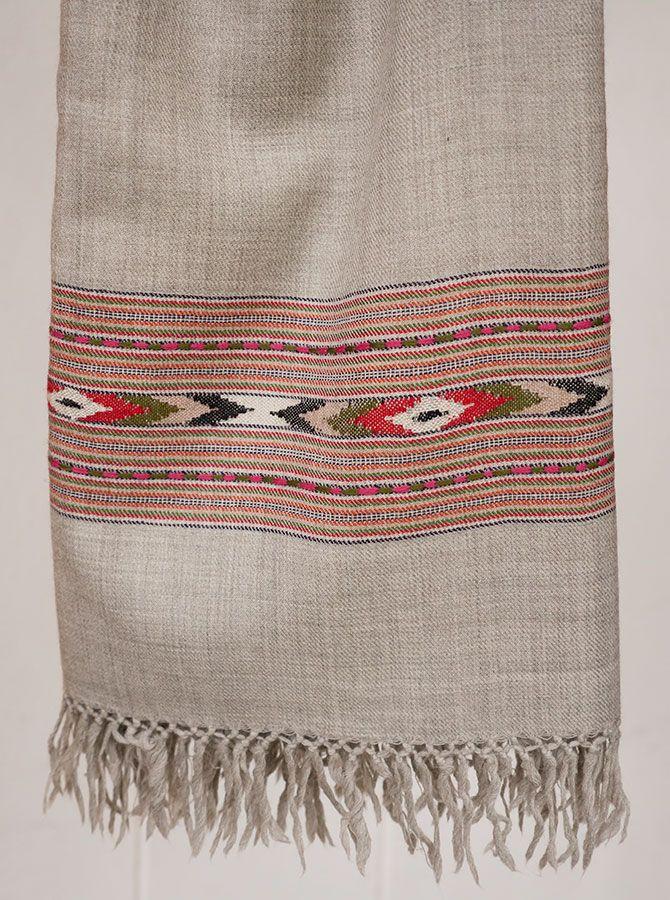 Beautiful pale grey Merino wool handloom shawl with pink and green chevron design. Buy on http://naggarvalley.com/product/hand-loom-merino-wool-shawl-pale-grey-red-green-pink-chevron-design/