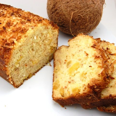 Coconut Pineapple Bread...this is absolutely divine......used a 9X13 pan and baked only 30 minutes. Heated a container of whipped cream cheese frosting in the microwave for 30 seconds, put holes in cake with butter knife and drizzeled frosting over still warm cake....only lasted half a day.....everyone loved it!!!