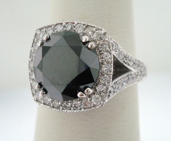 #Black #Diamond E-Ring (very unique!) (4.12cts) (Credits: photo from Jewelry by Garo [etsy])