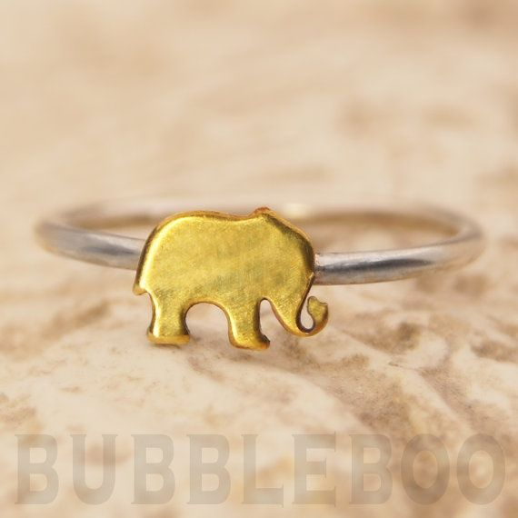 Elephant Sterling Silver Stacking Ring featuring a brass accent. Small Brass Elephant, Silver Jewellery UK Seller, All sizes made to order.