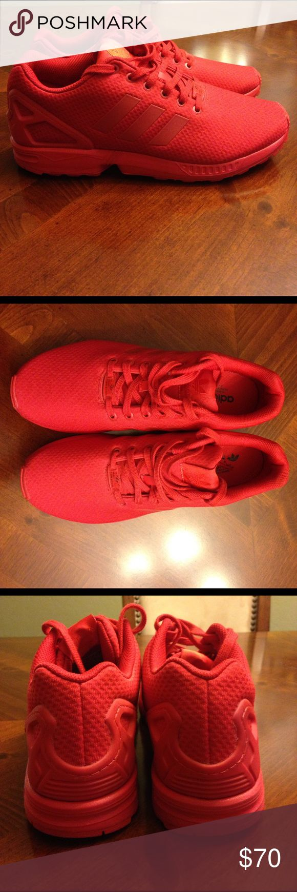 Adidas All Red ZX Flux Adidas all red ZX Flux. In very good condition. Only worn once. Comes with original box as well. Adidas Shoes Sneakers