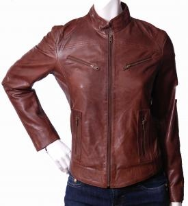 Ladies biker leather jackets in different color and design.