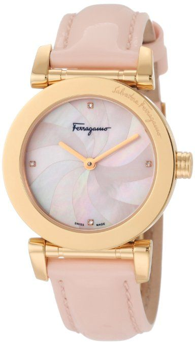 Salvatore Ferragamo Women's Pink Genuine Patent Leather Mother-Of-Pearl Diamond Gold Plated Watch