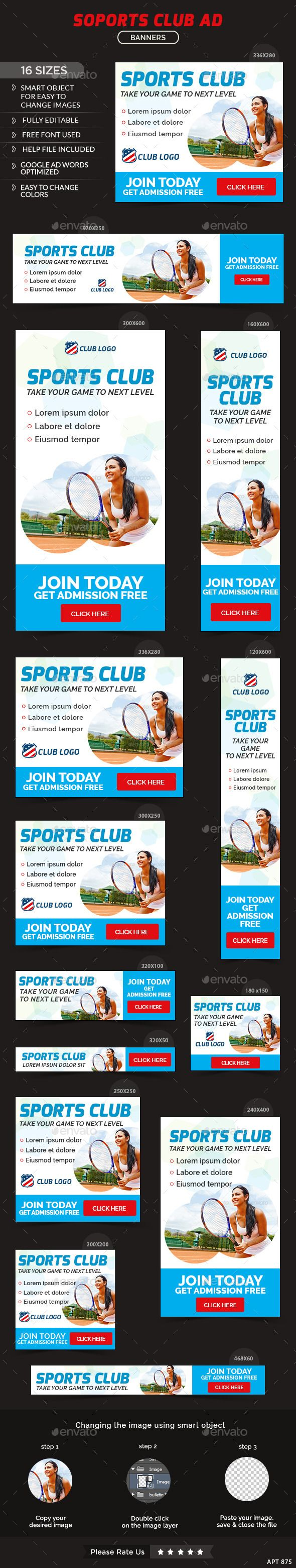 Sports Club Web Banners Template #design #ads Download: http://graphicriver.net/item/sports-club-banners/12802304?ref=ksioks
