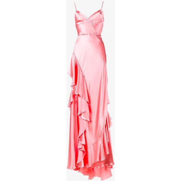 Gucci ruffle slip gown ($6,020) ❤ liked on Polyvore featuring dresses, gowns, red evening gowns, red slip, red ball gown, gucci dress and sweetheart ball gown
