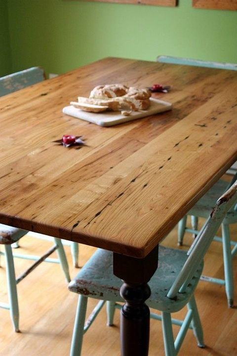Antique wormy chestnut dining table (painted base)