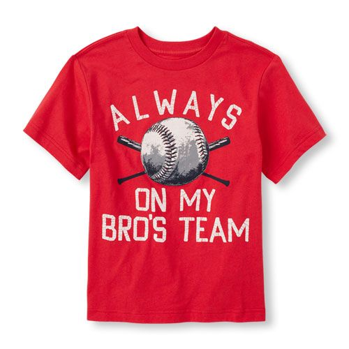 s Boys Short Sleeve 'Always On My Bro's Team' Baseball Shirt - Red - The Children's Place