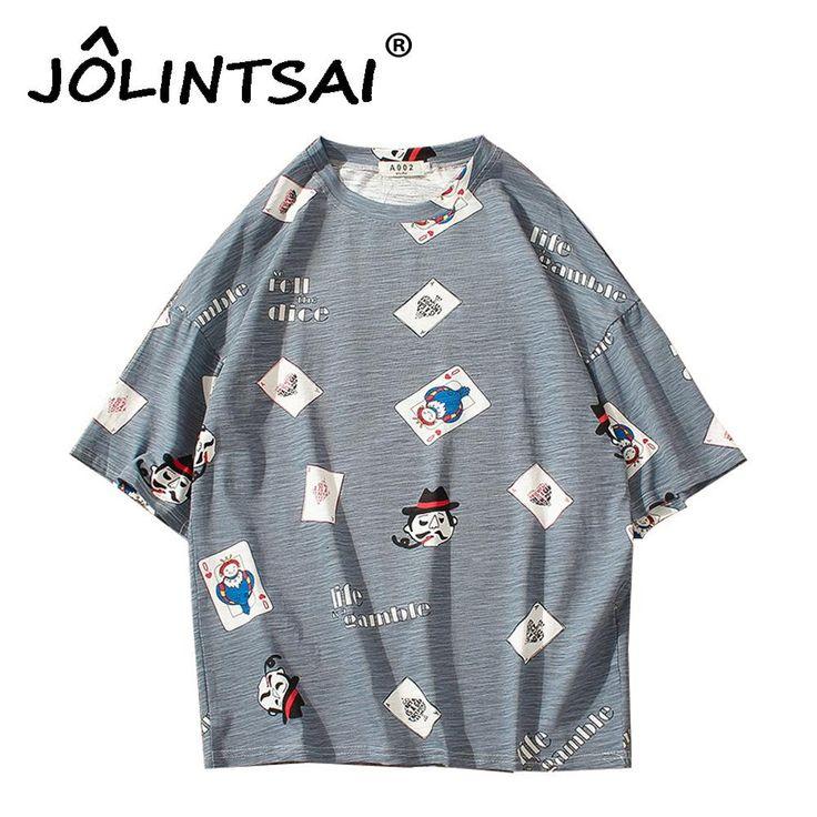 2017 Men's Funny T-shirts Playing Cards Print Tshirts Short Sleeve Hip Hop Casual T shirt Summer Tops Streetwear Oversize 5XL