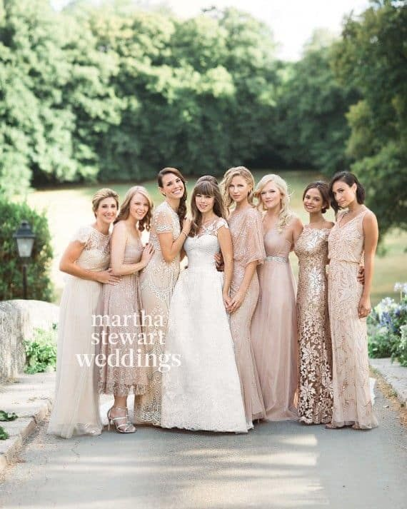 Perfectly mismatched champagne bridesmaid dresses! (Purchased from a variety of places from Macy's, to forever 21, Davids Bridal to Ross). Image source