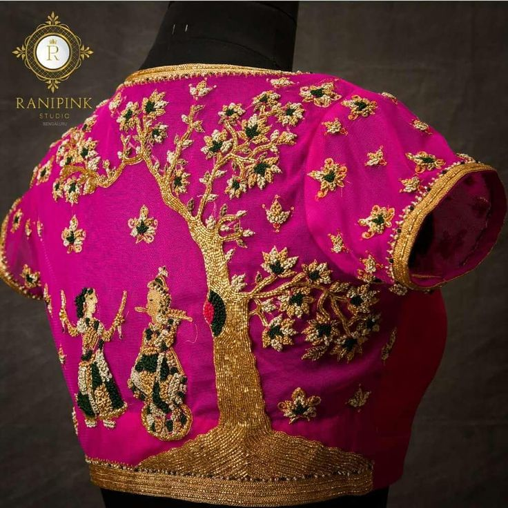 Rani pink collection of  Radha Krishna  blouses...  Beautiful pink color designer blouse with radha krishna design hand embroidery thread and bead work.  08 December 2017