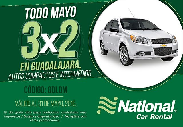 ¡En #Mayo aprovecha el 3X2 en #Guadalajara!  Reserva ahora... www.nationalcar.com.mx e ingresa el código GDLDM!  #NosotrosTeLlevamos