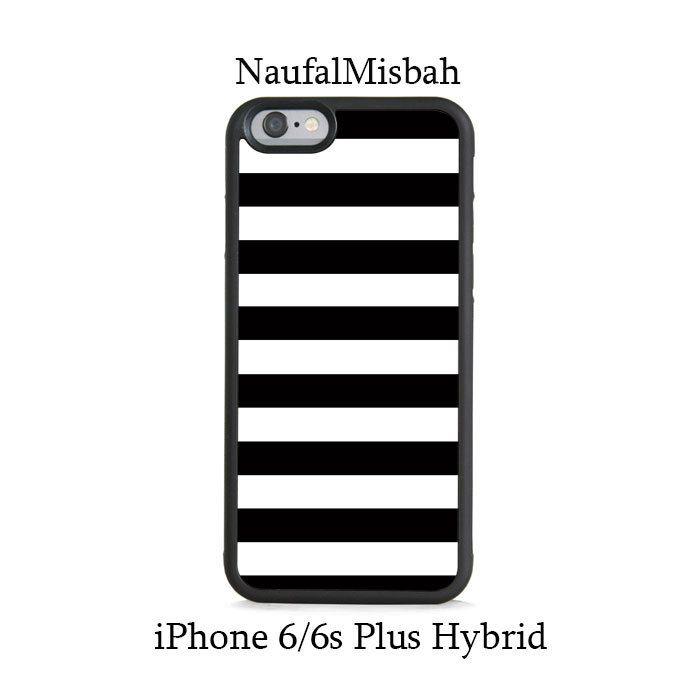Black White Stripes iPhone 6/6s PLUS HYBRID Case Cover