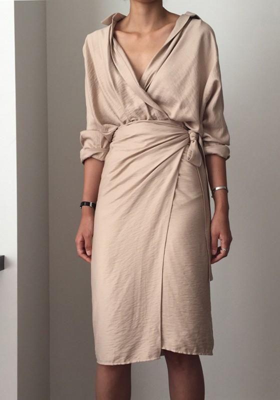 d34ed3e4dca0 Beige Sashes Irregular Turndown Collar Fashion Midi Dress – rosechoic.com
