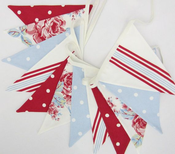 Red White and Blue Bunting, shabby chic style, Floral Flag Banner, Fabric Pennant Banner, Pale blue Dotty and Stripes, Double Sided Pennants