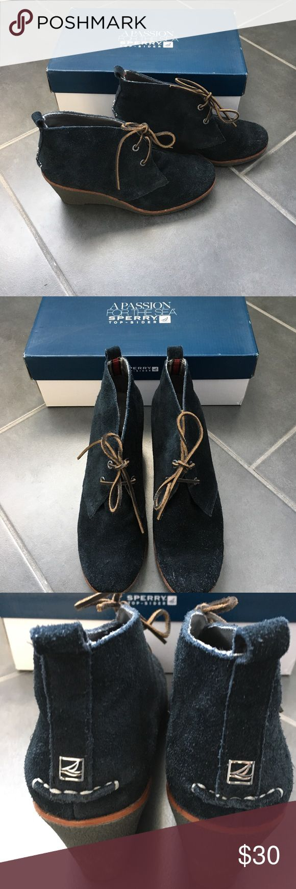 Sperry Harlow black suede wedge bootie Black suede lace up wedge bootie with rubber sole. Sperry Shoes Lace Up Boots