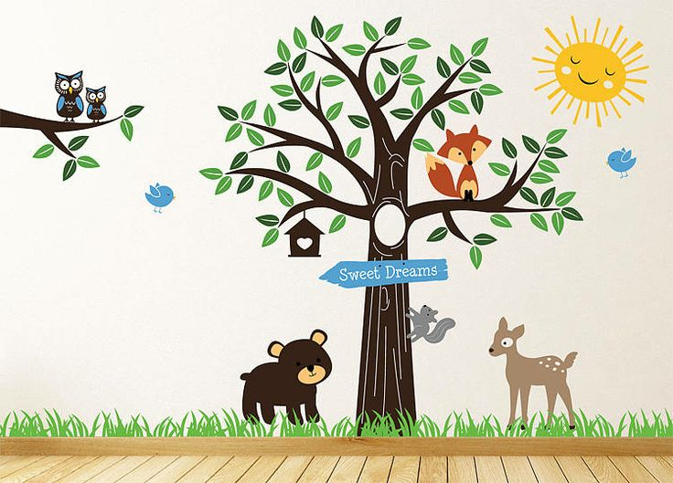 forest friends tree wall stickers by parkins interiors | notonthehighstreet.com