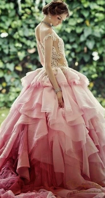 565 best images about all things pink on pinterest pink for Pink ombre wedding dress