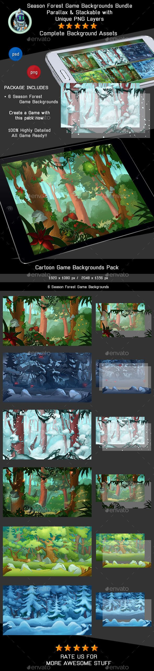 6 Season Forest Game Backgrounds - Parallax and Tileable - Backgrounds Game Assets