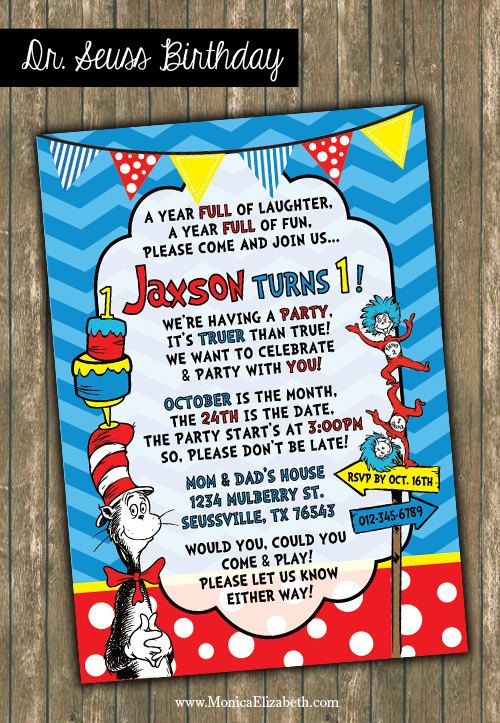 Dr Seuss Inspired Theme Birthday Party Cat by TheGreatInvitation
