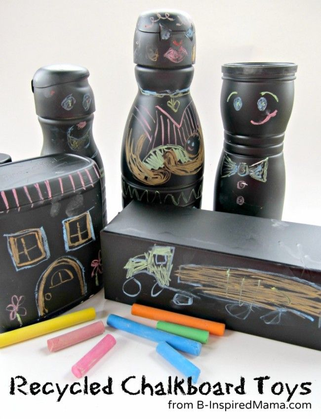 Chalkboard Recycled Craft Toys for Earth Day at B-InspiredMama.com
